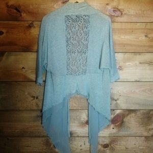 Absolutely Famous Gray Waterfall Layered Shrug M